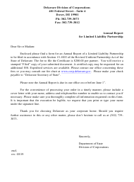 """Annual Report for Limited Liability Partnership"" - Delaware"