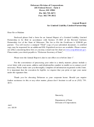 """Annual Report for Limited Liability Limited Partnership"" - Delaware"