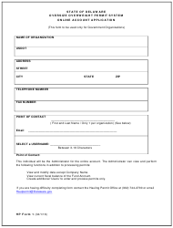 "HP Form 1 ""Oversize Overweight Permit System Online Account Application"" - Delaware"