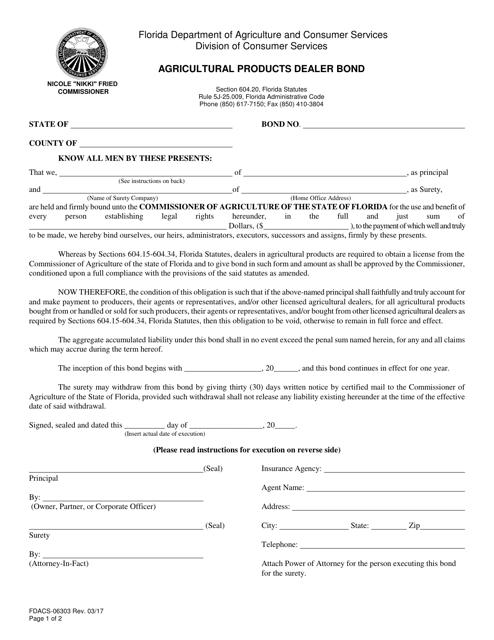Form FDACS-06303  Printable Pdf