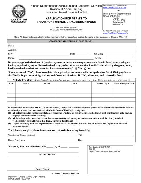 Form FDACS-09056  Printable Pdf