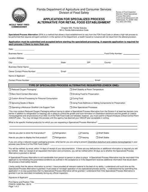 Form FDACS-14095  Printable Pdf