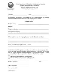 "Form FDACS-01451 ""Found Property Affidavit"" - Florida"