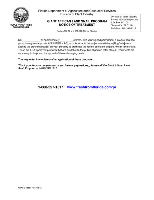 Form FDACS-08484  Printable Pdf