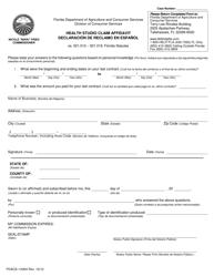 "Form FDACS-10304 ""Health Studio Claim Affidavit"" - Florida (English/Spanish)"