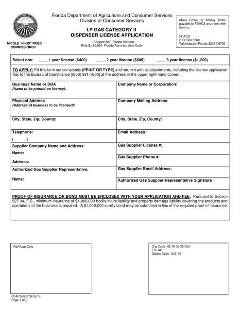 Form FDACS-03579 Printable Pdf