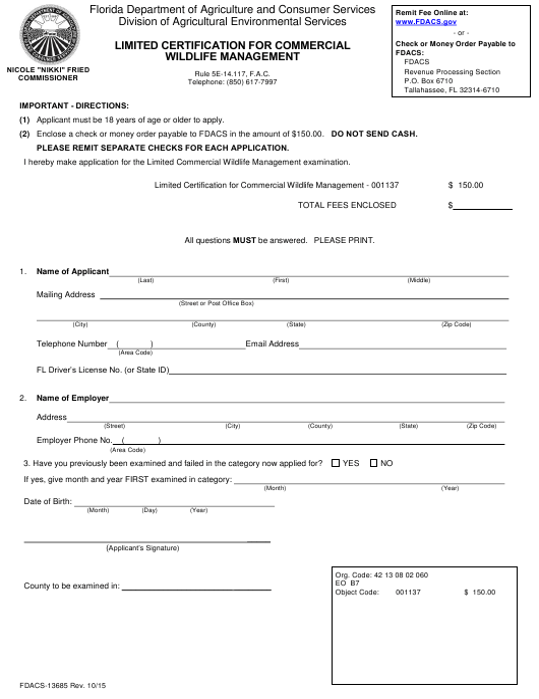 Form FDACS-13685  Printable Pdf