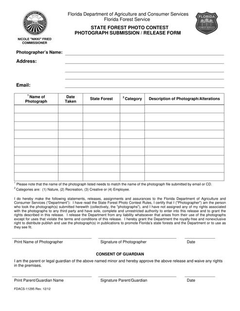 Form FDACS-11295  Printable Pdf