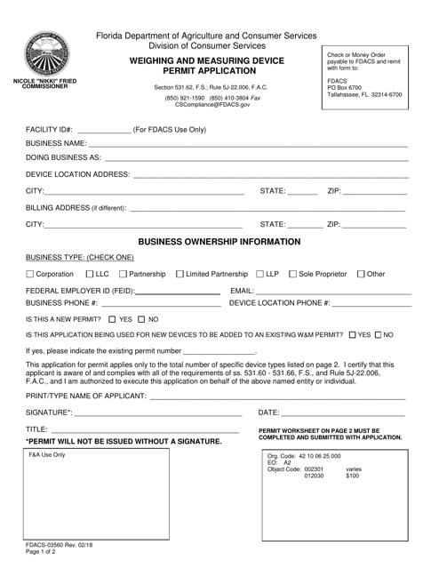 Form FDACS-03560  Printable Pdf