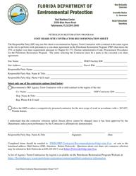 """Petroleum Restoration Program Cost Share Site Contractor Recommendation Sheet"" - Florida"