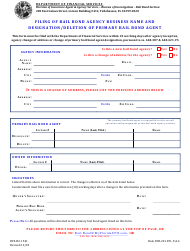 "Form DFS-H2-1541 ""Designation or Deletion of Primary Bail Bond Agent"" - Florida"