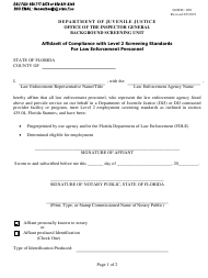 "Form IG/BSU-009 ""Affidavit of Compliance With Level 2 Screening Standards for Law Enforcement Personnel"" - Florida"
