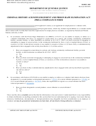 "Form IG/BSU-003 ""Criminal History Acknowledgement and Prison Rape Elimination Act (Prea) Compliance Form"" - Florida"