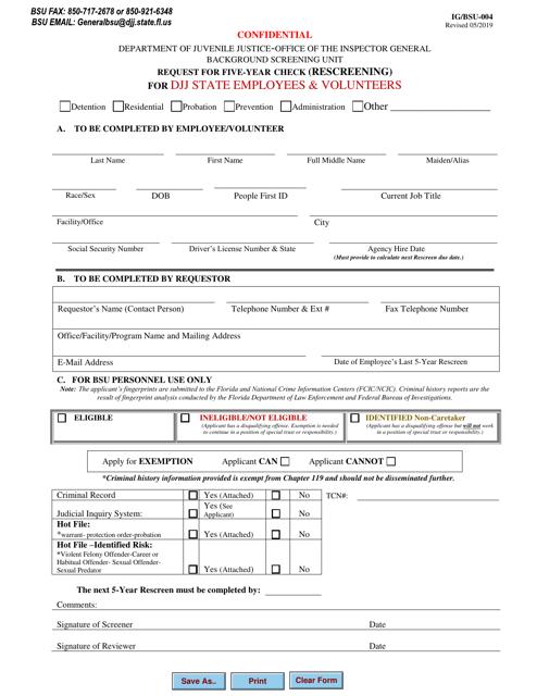 Form IG/BSU-004  Printable Pdf