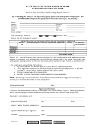 """""""State Employee Tuition Waiver Program Participation Template Form"""" - Florida"""