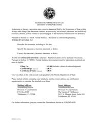 """Form CR2E015 """"Articles of Correction"""" - Florida"""