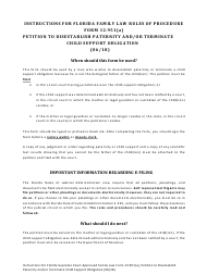 """Form 12.951(A) """"Petition to Disestablish Paternity and/or Terminate Child Support Obligation"""" - Florida"""