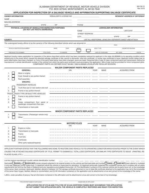 Form INV26-15 Printable Pdf
