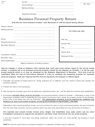 "Form ADV-40 ""Business Personal Property Return"" - Alabama"
