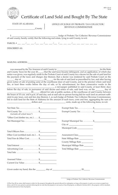 Form ADV: LD-13 Printable Pdf