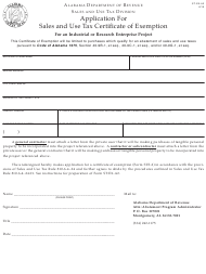 "Form ST: EX-A2 ""Application for Certificate of Exemption for an Industrial or Research Enterprise Project"" - Alabama"