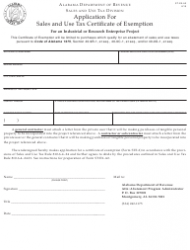 """Form ST: EX-A2 """"Application for Certificate of Exemption for an Industrial or Research Enterprise Project"""" - Alabama"""