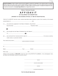 "Form ADV-MVA1 ""Motor Vehicle Dealer Affidavit Ad Valorem Tax Exemption"" - Alabama"