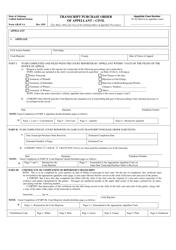 "Form ARAP-1A ""Transcript Purchase Order of Appellant - Civil"" - Alabama"