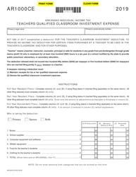"Form AR1000CE ""Teachers Qualified Classroom Investment Expense"" - Arkansas, 2019"