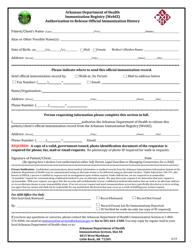 """Immunization Registry (Webiz) Authorization to Release Official Immunization History"" - Arkansas"