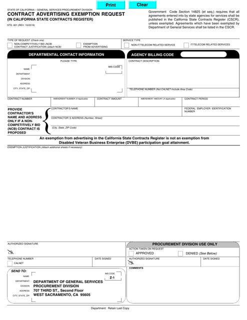 Form STD.821  Printable Pdf