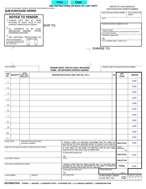 Form STD.40A  Printable Pdf