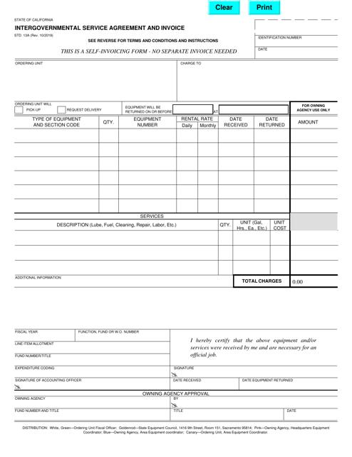Form STD.13A  Printable Pdf