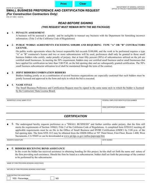 Form STD.811  Printable Pdf