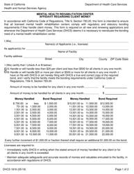 "Form DHCS1816 ""Mental Health Rehabilitation Center Affidavit Regarding Client Money"" - California"