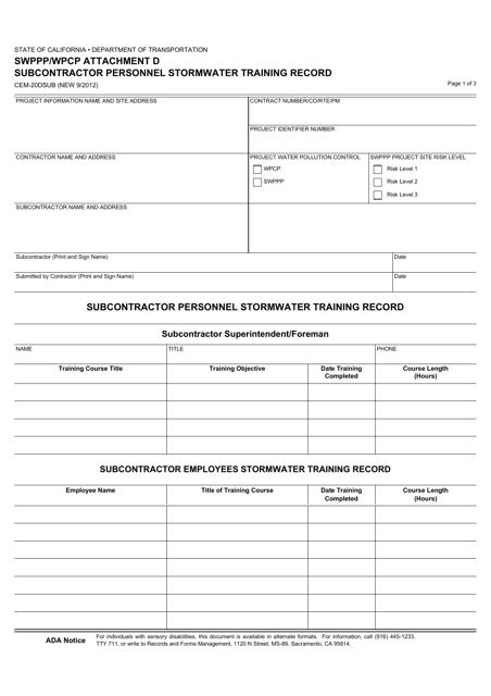 Form CEM-20DSUB Attachment D  Printable Pdf
