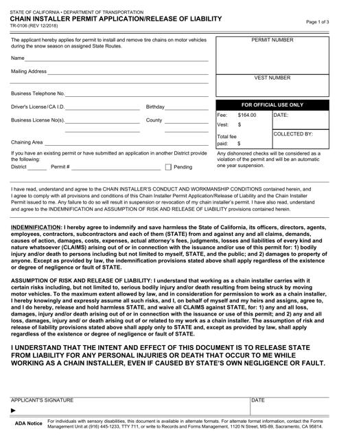 Form TR-0106 Printable Pdf