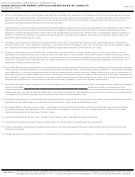 """Form TR-0106 """"Chain Installer Permit Application/Release of Liability"""" - California, Page 3"""