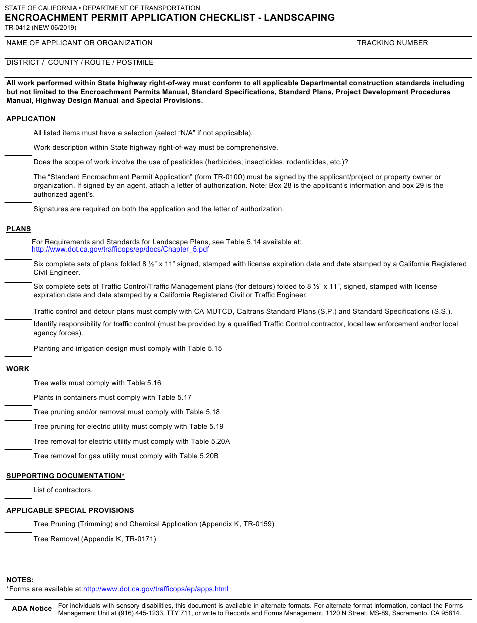 Form Tr 0412 Download Fillable Pdf Or Fill Online Encroachment Permit Application Checklist Landscaping California Templateroller