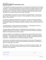"Form CHP400K ""Explorer Statement of Professional Ethics"" - California"