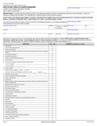 """Form CHP73 """"Applicant Health Questionnaire"""" - California"""