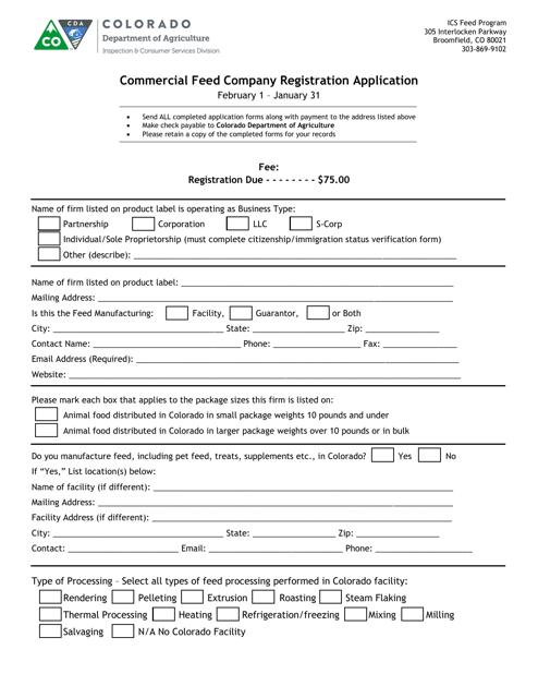 """Commercial Feed Company Registration Application"" - Colorado Download Pdf"