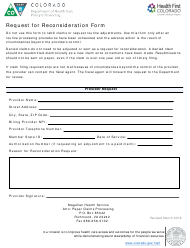 """Request for Reconsideration Form"" - Colorado"