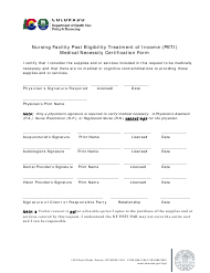 """Nursing Facility Post Eligibility Treatment of Income (Peti) Medical Necessity Certification Form"" - Colorado"