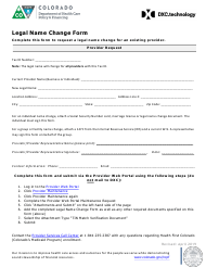 """Legal Name Change Form"" - Colorado"