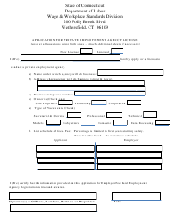"""""""Application for Private Employment Agency License"""" - Connecticut"""