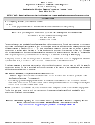 "Form DBPR CPA6 ""Application for CPA Non Resident Temporary Practice Permit"" - Florida"