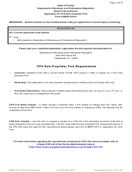 "Form DBPR CPA5 ""Application for CPA Sole Proprietor Firm"" - Florida"