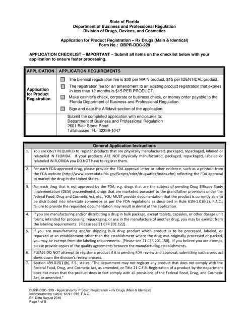 Form DBPR-DDC-229  Printable Pdf