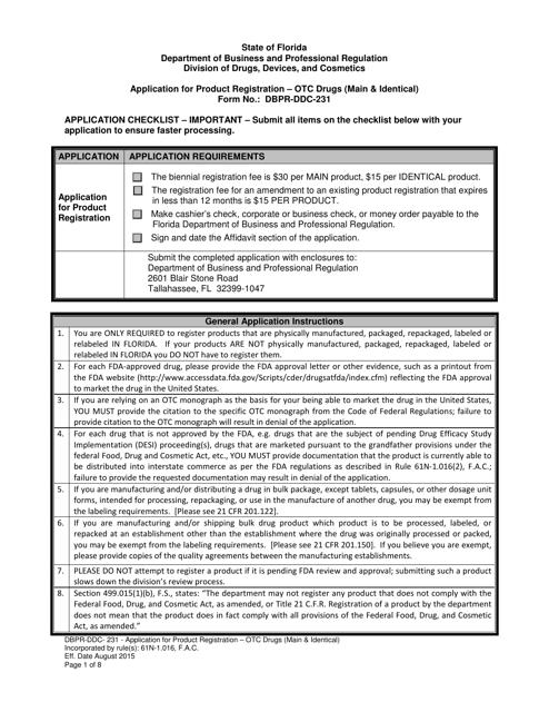 Form DBPR-DDC-231  Printable Pdf